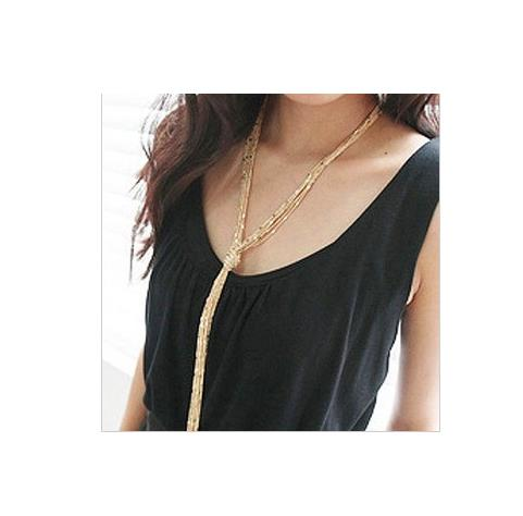 Long Necklace: Goldtone Multi-Layer Tassel Style Long Fashion Necklace
