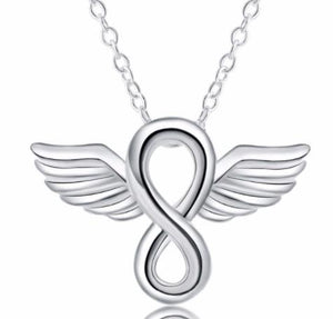 Necklace: Infinity Symbol with Angel Wings - Pendant Necklace