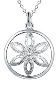 Necklace: Floral Burst Round Pendant Necklace