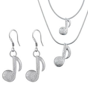 "Jewellery Set: ""Melodic Music Note"" Jewellery Set - Necklace and Earrings"