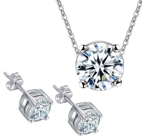 "Jewellery Set: ""Understated Classic"" Solitaire Pendant Necklace & Stud Earrings Set"