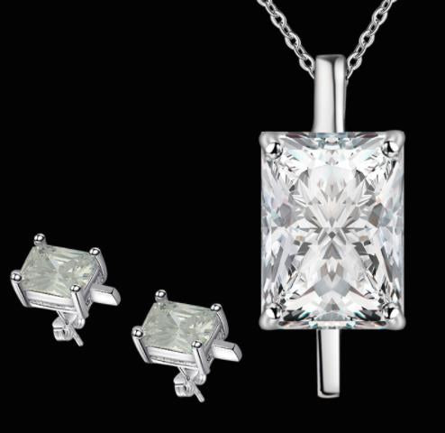 "Jewellery Set: ""Sweet & Simple"" Rectangular Solitaire Pendant Necklace & Stud Earrings Set"
