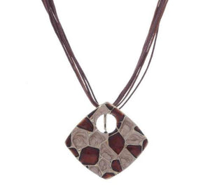 "Statement Necklace: Boho Style 18"" Pendant Necklace - Brown"
