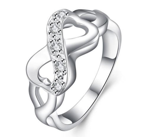 "Ring: ""Heart-Shaped Infinity Symbol"" Silver Ring"