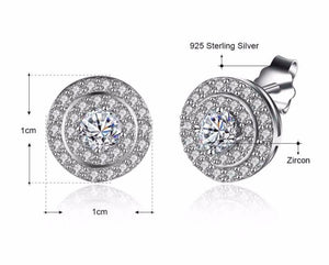 925 Sterling Silver: Earrings - Oversized Halo Stud Earrings