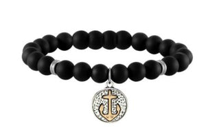 Bracelet: Black Beaded Bracelet with 2-Tone Anchor Charm
