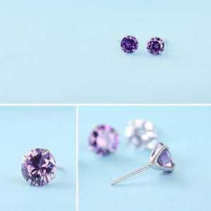 925 Sterling Silver: Earrings - Purple Stud Earrings