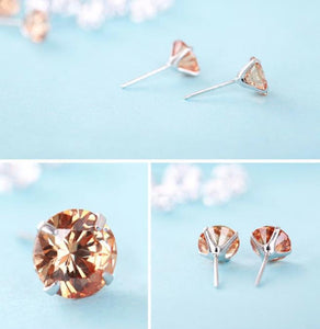 925 Sterling Silver: Earrings - Orange Stud Earrings