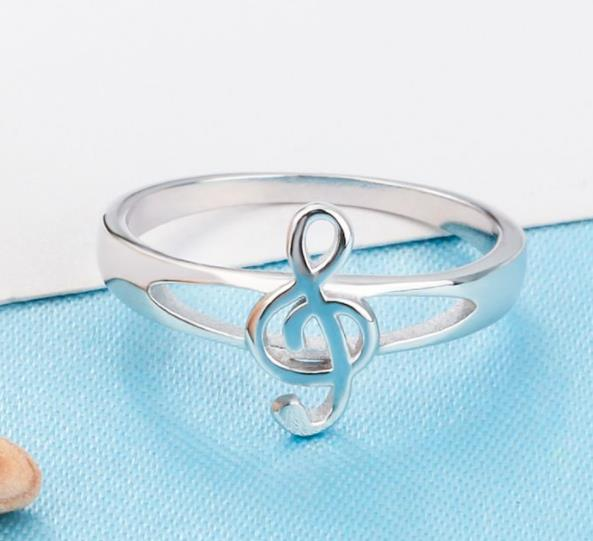925 Sterling Silver: Ring - Treble Clef Musical Theme Ring - Size 6, 7, 8