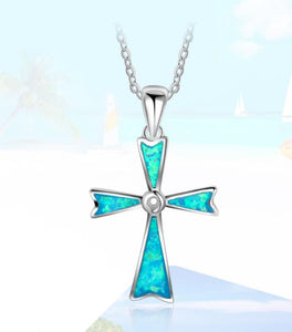 "925 Sterling Silver: Pendant Necklace - Cross Pendant Necklace with 18"" chain - Opal"