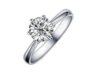 925 Sterling Silver: Ring - Solitaire Ring - 0.84 CARAT Cubic Zirconia Stone - Size 6, 7, 8, 9