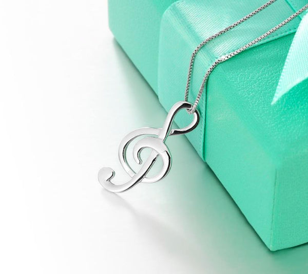 925 Sterling Silver: Pendant Necklace - Treble Clef Music