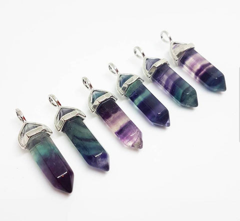 Necklace: Natural Stone Multi-Coloured Fluorite Pendant Necklace
