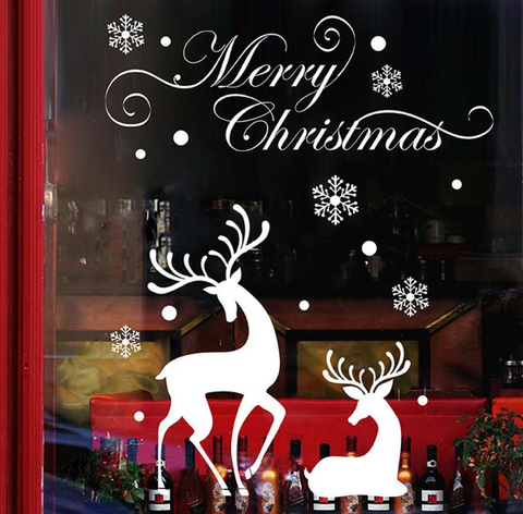 "Wall Decal: ""Merry Christmas"" Reindeer Scene Wall or Window Decal"