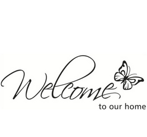 "Wall Decal: ""Welcome Home"" Butterfly Design Wall Decal"