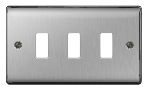 BG GNBS3 FRONTPLATE 3 GANG BRUSHED STEEL