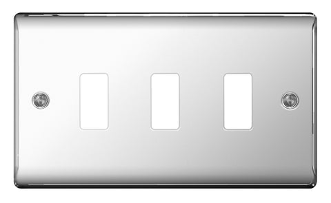 BG GNPC3 FRONTPLATE 3 GANG POLISHED CHROME