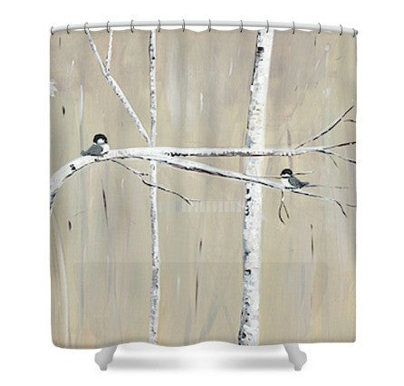 """Birch Birds"" Shower Curtain"