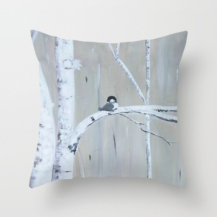 """Birch Birds""  Pillow"