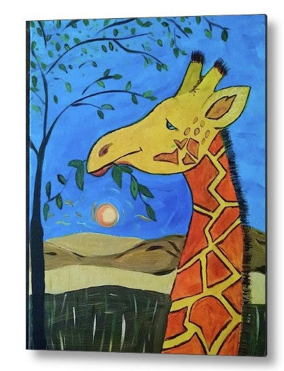 """Feelin' Giraffe-y"" Metal Print"