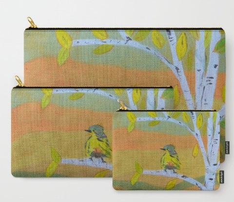 """Little Bird"" zipper totes"
