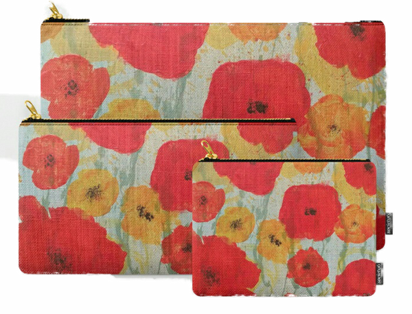"""Poppy Rain"" zipper totes"