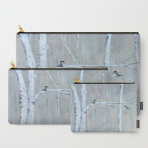 """Birch Birds"" zipper totes"