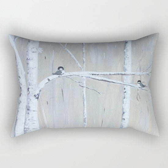 """Birch Birds"" Rectangular Pillow"
