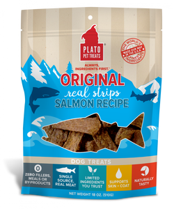 Plato All Natural Salmon Strips Dog Treats image
