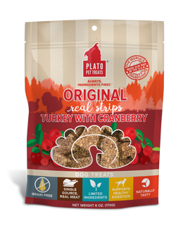 Plato Grain Free Real Strips Turkey With Cranberry Dog Treats image