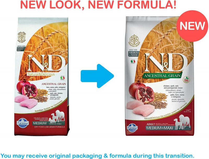 Farmina N&D Natural and Delicious Ancestral Grain Medium & Maxi Chicken & Pomegranate Adult Dry Dog Food