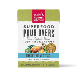 The Honest Kitchen Pour Overs Grain Free Turkey Stew with Spinach, Kale, & Broccoli Food Topper for Dogs image