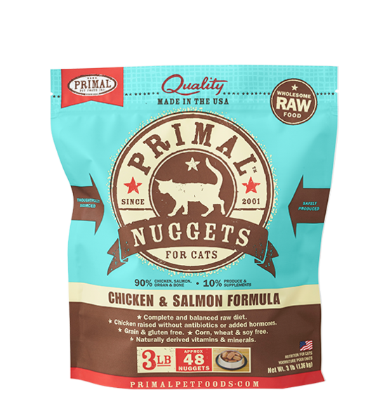 Primal Raw Frozen Feline Chicken & Salmon Formula Nuggets