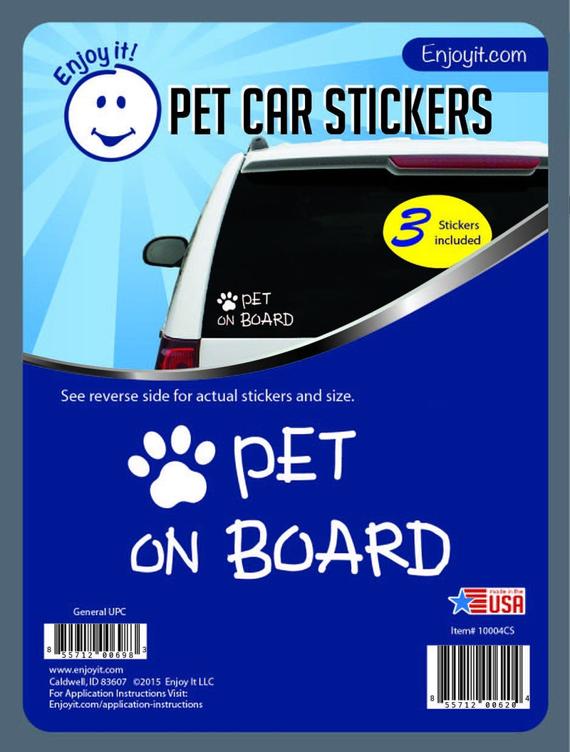 Enjoy it! Pet on Board and Paw Car Stickers