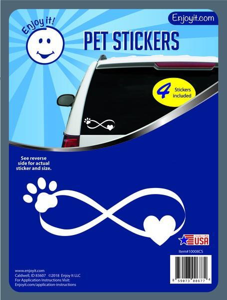 Enjoy it! Infinity Symbol with Pet Paw Car Stickers