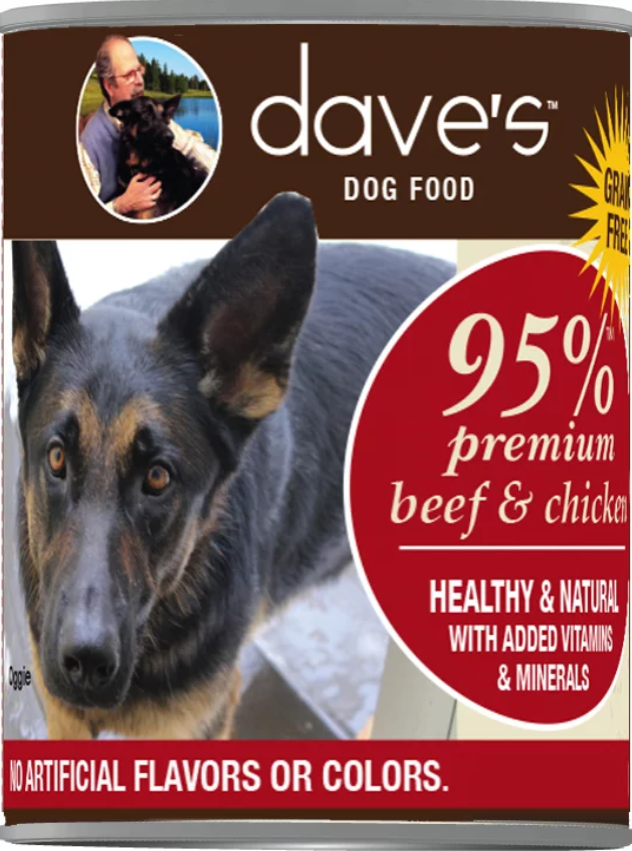 Dave's 95% Premium Meats™ Canned Dog Food—Beef & Chicken