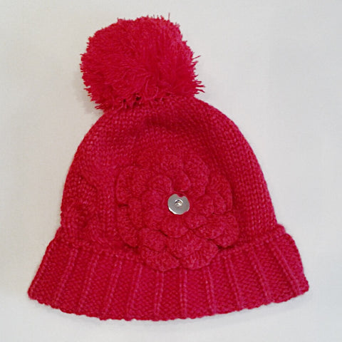 5b45af87b6500 Red warm cable knit winter hat with flower and pom pom for 18 mm snap –  Shuga Snap Jewelry