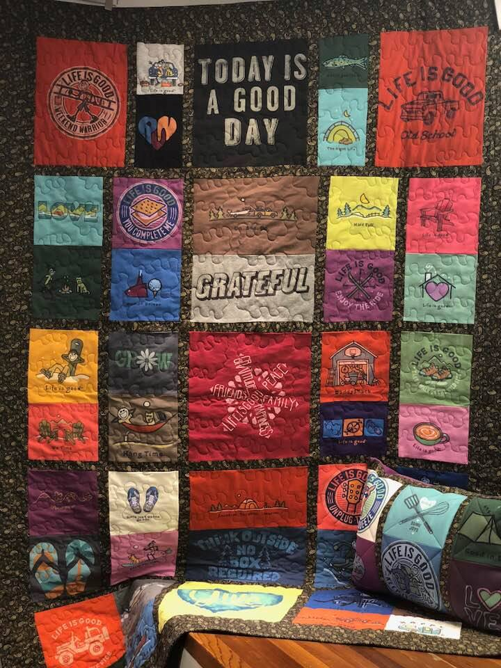 One-of-a-kind Life is good Tee shirt quilt for The Children's Wish Foundation