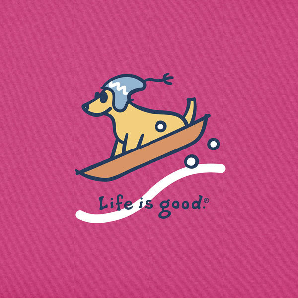 Girls Long Sleeve Vintage  Sled Dog - Jake by the Lake-Life is good