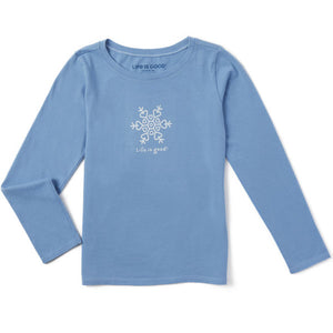 Girls Long Sleeve Vintage  Snowflake - Jake by the Lake-Life is good