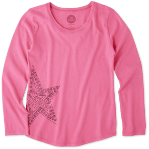 Girls Smiling Smooth Longsleeve Star - Jake by the Lake-Life is good