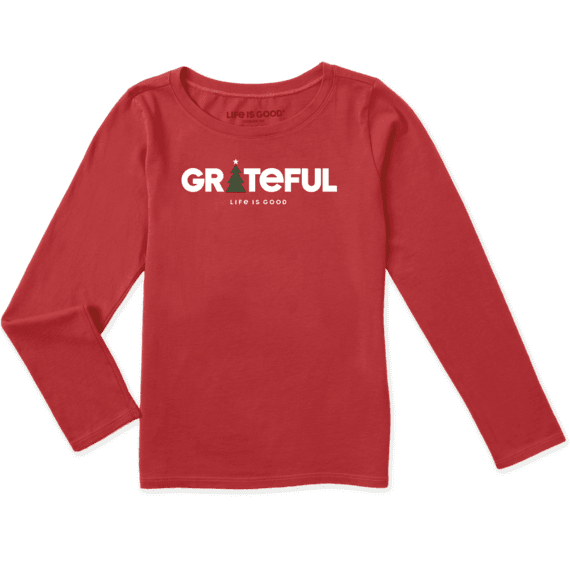 Girls Long Sleeve Grateful Holiday AmrRed - Jake by the Lake-Life is good