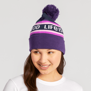 Pom Beanie with Cuff LIG Stripes  Deep Purple