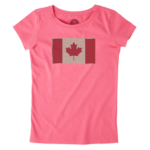 Girls Crusher Canada Flag - Jake by the Lake-Life is good