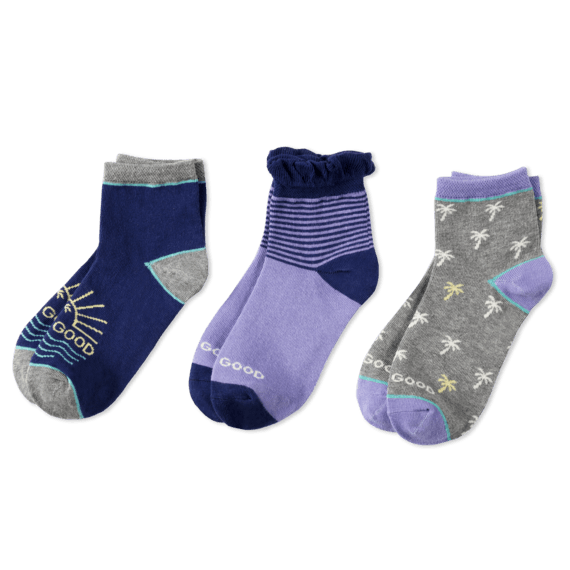 3-Pack Girls Palm Trees Quarter Socks - Jake by the Lake-Life is good