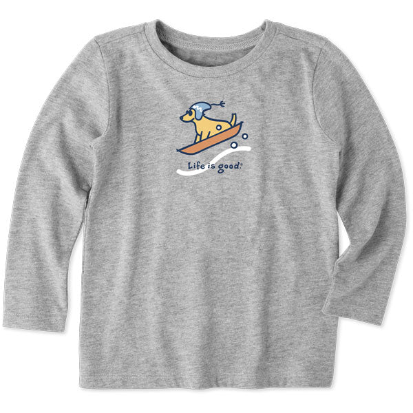 Toddler Long Sleeve Vintage Sled Dog - Jake by the Lake-Life is good