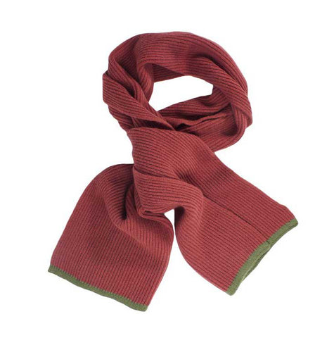 Brick and Green Wool/Cashmere Scarf