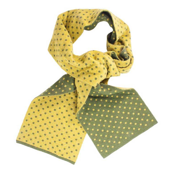 Olive & Mustard Dotted Wool/Cashmere Scarf