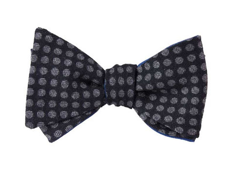 Blue Wool Polka-dot Butterfly Bow Tie