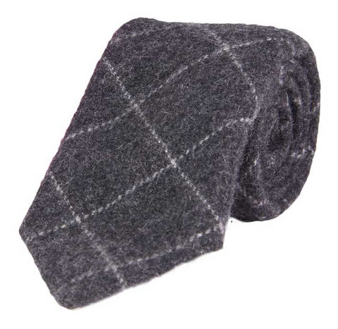 Charcoal Gray Skinny Cashmere Tie